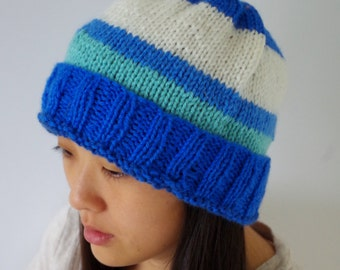 Multi-striped Blue Hand-knit Beanie