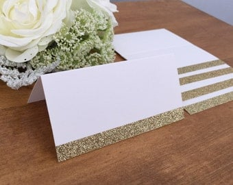 25 - Blank Gold Glitter Wedding Place Cards