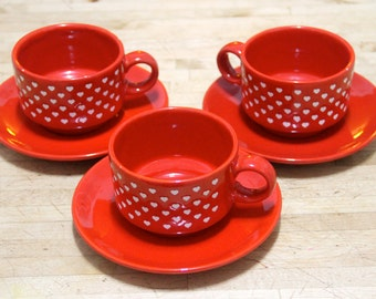 Vintage  1970's Waechtersbach W. Germany'. cup and saucer, Red with White hearts (set of 3)