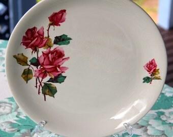 """Vintage 1950's  Barratt's Delphetic White Tableware  :Pink Roses """" Cake Or Dinner Plate"""