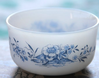 Vintage Arcopal ramekin cobalt blue floral decals 1970s France vintage custard cups