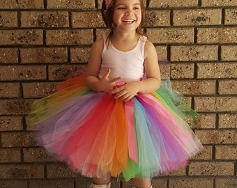 Rainbow Tutu - Tea length Rainbow Tutu - Tea Party Tutu Newborn ,toddler, girl Birthday Party