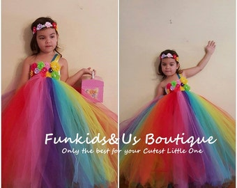 Candy Rainbow Birthday Tutu Dress -Rainbow Tutu Outfit, Rainbow Dress