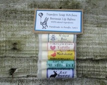 Set of five nourishing beeswax and manuka honey lip balms. cute,  Great girly gift. Made in Pendle UK