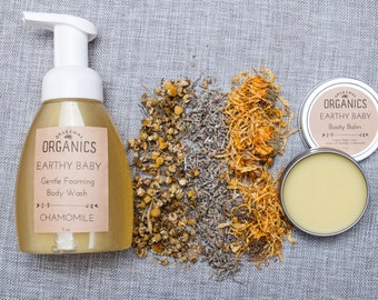 Earthy Baby DUO - 2 oz Booty Balm Diaper Cream + 8 oz Gentle Foaming Chamomile Body Wash, Made w/ Organic Ingredients - Buy Together + SAVE
