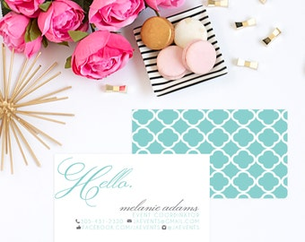 Teal and Gray Hello Business Card. Calling Card. Personal Shopper Card. Wedding Planner Card. Small Business. Business Card.