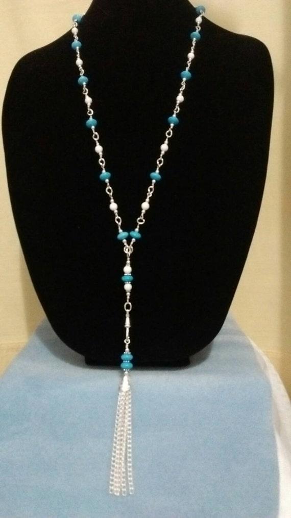 Turquoise Detachable Tassel Lanyard, Turquoise Lanyard, Turquoise Badge Holder, Blue Beaded Lanyard, Blue Badge Holder, Nurse Lanyard 615174