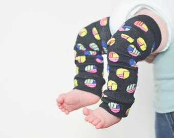 Baby Leg Warmers - Black with Colorful Geometric Circles - Newborn to 18 Months - Perfect for Winter - Great gift idea for mom and baby!