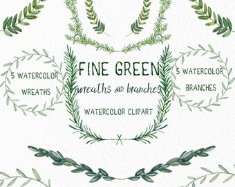 Fine Green wreaths and branches. Watercolor clip art hand drawn. Light green branches, wedding invitation, olives, rosemary, Laurel Wreath