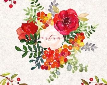 Autumn Watercolor clip art hand drawn. Romantic wedding, light green, tender green branches, wedding invitation, wreath  and arrangements.