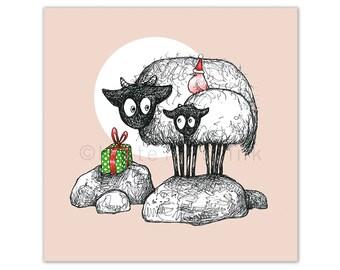 Sheep Christmas card, Xmas cards, sheep & bird drawing, original Christmas art cards, Irish Connemara sheep, Christmas art, Dutch artist, NL