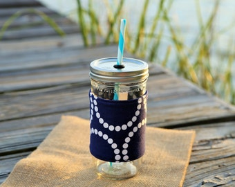 Navy Pearl Bracelets Mason Jar Tumbler | Mason Jar To Go Cup | Monogrammed Tumbler | Embroidered Tumbler | Navy Pearl Bracelets