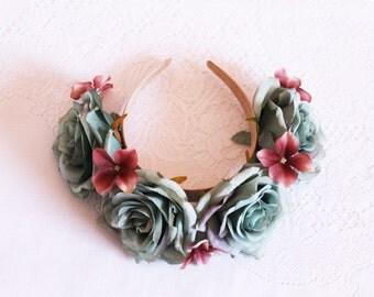 Grande dusty teal Roses Flower Headband / crown, handcrafted, antique, headpiece, elegant, hair, facinator