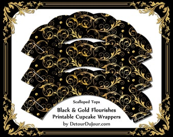 1/2OFF50 COUPON CODE Cupcake Wrappers Printable, Black and Gold Cupcake Holders Elegant Cupake Wraps