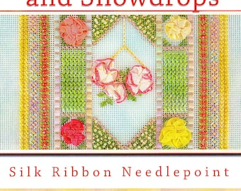 Silk Ribbon Needlepoint Book:    Begonias and Snowdrops