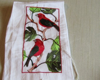 Two Red Birds on Branches guest towel