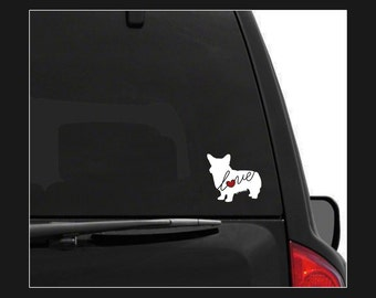 Welsh Corgi Love: A Car Window Vinyl Decal - Laptop Sticker - Dog Breed Decals - Dog Stickers - Cooler Decal - Gift for Dog Lover