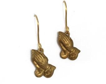 Praying Hands 6God Brass Drake Earrings