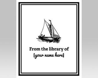 PRINTABLE Sailboat Custom Printable Bookplate | Boat Book Plate | Nautical Book Name Plate | Personalized Printable, DIY Gift