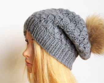 Grey Hat, Winter Womans ,Hat With Natural Fur Pompon,Natural Fur Pom Pom,Hand Knitted Hat,Winter Cap,Handmade Hat,Fur Pom Pom
