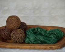 """Sari Silk Ribbon - 5 yards - """"Forest Green"""" kelley green - Recycled Free trade silk ribbon Imported from India"""