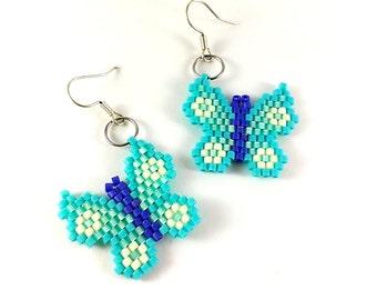 Blue butterflies Beaded earrings Blue earrings Butterfly earrings Butterfly jewelry Small butterfly Fluttering butterfly Ice blue earrings