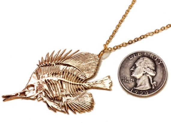Fish skeleton necklace butterfly fish pendant fish jewelry for Fish skeleton necklace