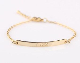 Personalized Name Gold bar Bracelet, Personalized Jewelry, friendship bracelet, Bridesmaids Jewelry, Custom Date, Name, Roman