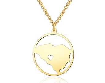 South Carolina Necklace - 18K Gold South CarolinaMap Pendant - State Necklace -  Map necklace with circle - Can be made at any State