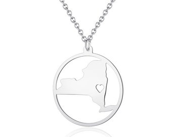 New York Necklace - 18K Gold plated New York Map Pendant - State Necklace -  Map necklace with circle - Can be made at any State