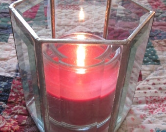 Beveled Glass Candle Holder