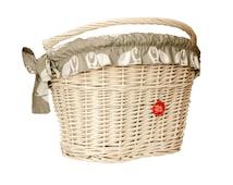 White Wicker Bike Basket Bike Belle with liner Fox