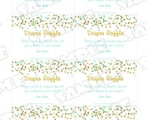 Gold and mint Baby shower diaper raffle insert cards Printable INSTANT DOWNLOAD UPrint by greenmelonstudios glitter baby shower