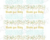 Gold and mint Baby shower book request insert cards Printable INSTANT DOWNLOAD UPrint by greenmelonstudios glitter baby shower