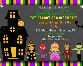 Halloween birthday party invitation any colors UPrint customized card by greenmelonstudios halloween party printable card