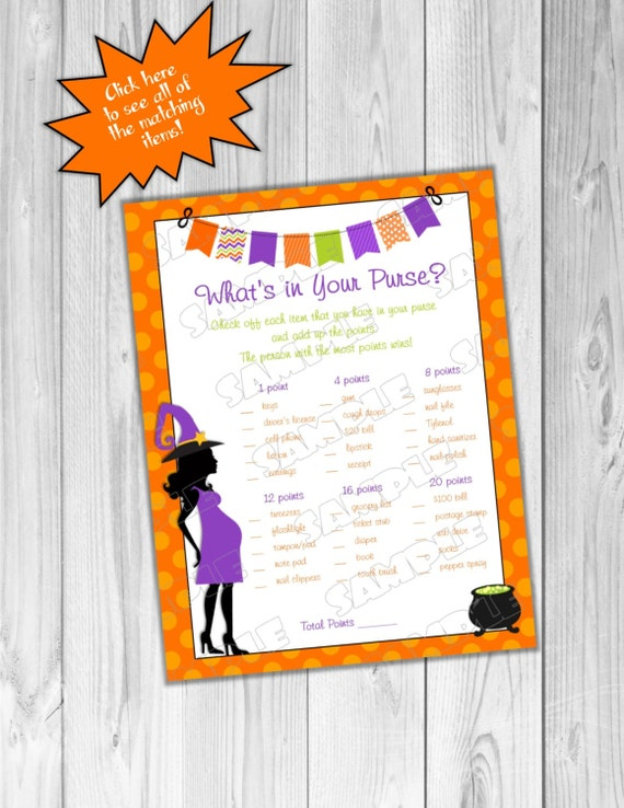 halloween baby shower games what 39 s in your purse game printable