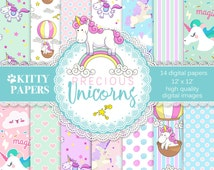 "Unicorn digital paper : ""Precious Unicorns"" unicorn digital backgrounds for scrapbooking, unicorn patterns, unicorn digital paper pack"