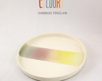 Unique colorful, gradient glazed porcelain plate