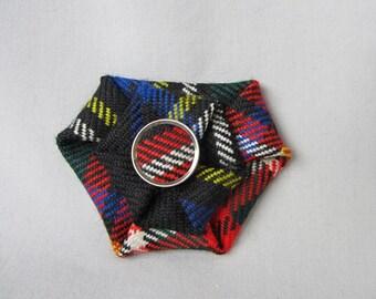 Clan Stewart Tartan (Black) Brooch with tartan button