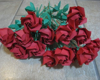 Beautiful Bouquet of Red Origami Roses