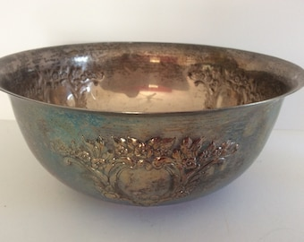 Large Silver Plate Bowl  - French Cottage Decor - Shabby Cottage Chic - Serving Bowl Fruit - Ornate  Elegant Farmhouse - Patina Silver Plate
