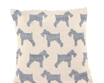 Schnauzer Dog Knitted Cushion Cover