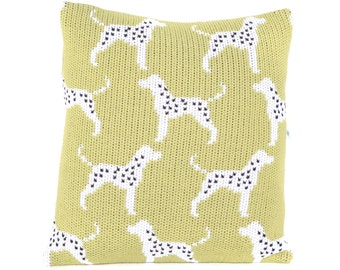 Dalmatian Dog Knitted Cushion Cover