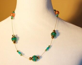Single Strand Turquoise/Orange/Gold necklace