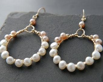 Pink Pearl, White Pearl, Gold Hoop Earrings, 14K Gold Fill, Wire Wrapped, Freshwater Pearl Dangle Earrings, Wedding Earrings, Bridal, Boho