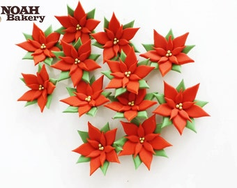 CHRISTMAS COLORS Edible Poinsettia Sugar Flowers Cake Cupcake Toppers