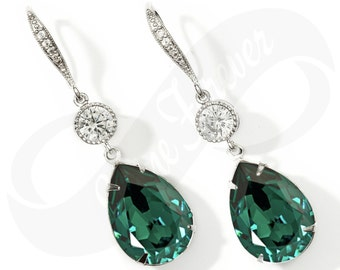 Bridesmaid Earings Green Earings Emerald Earings Bridal Jewelry Bridesmaid Jewlery Bridal Jewlery Wedding Earrings Bridesmaid Gift