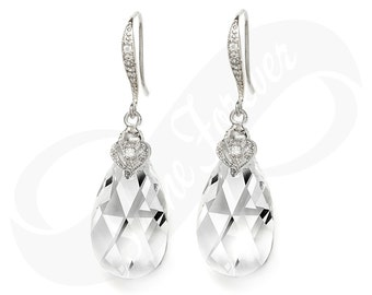 Bridesmaid Earings Bridesmaid Swarovski Crystal Teardrop Earrings Bridal Jewelry Dangle Earring Wedding Jewelry Gift Teardrop Earrings