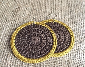 Crochet Earrings in Brown and Gold