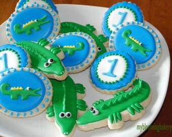 Crocodile - Alligator - Number - Party - Birthday Sugar Cookie - 12 Rolled Decorated Sugar Cookies